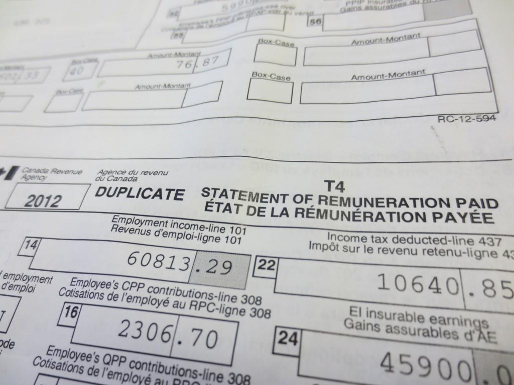 Organizing for 2013 Tax Preparation T4 Slip